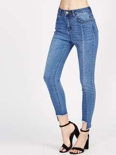 Staggered Hem Paneled Jeans