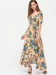Puff Sleeve Ruffle Hem Surplice Wrap Floral Dress