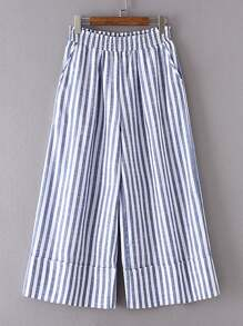 Elastic Waist Vertical Striped Wide Leg Pants