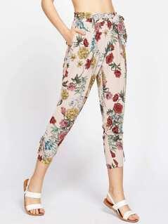 Floral Print Lace Up Side Pants