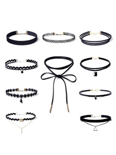 Rhinestone Pendant Choker Necklace Set 10pcs