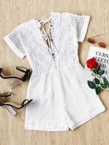 Double Plunging Neck Lace Bodice Cuffed Playsuit