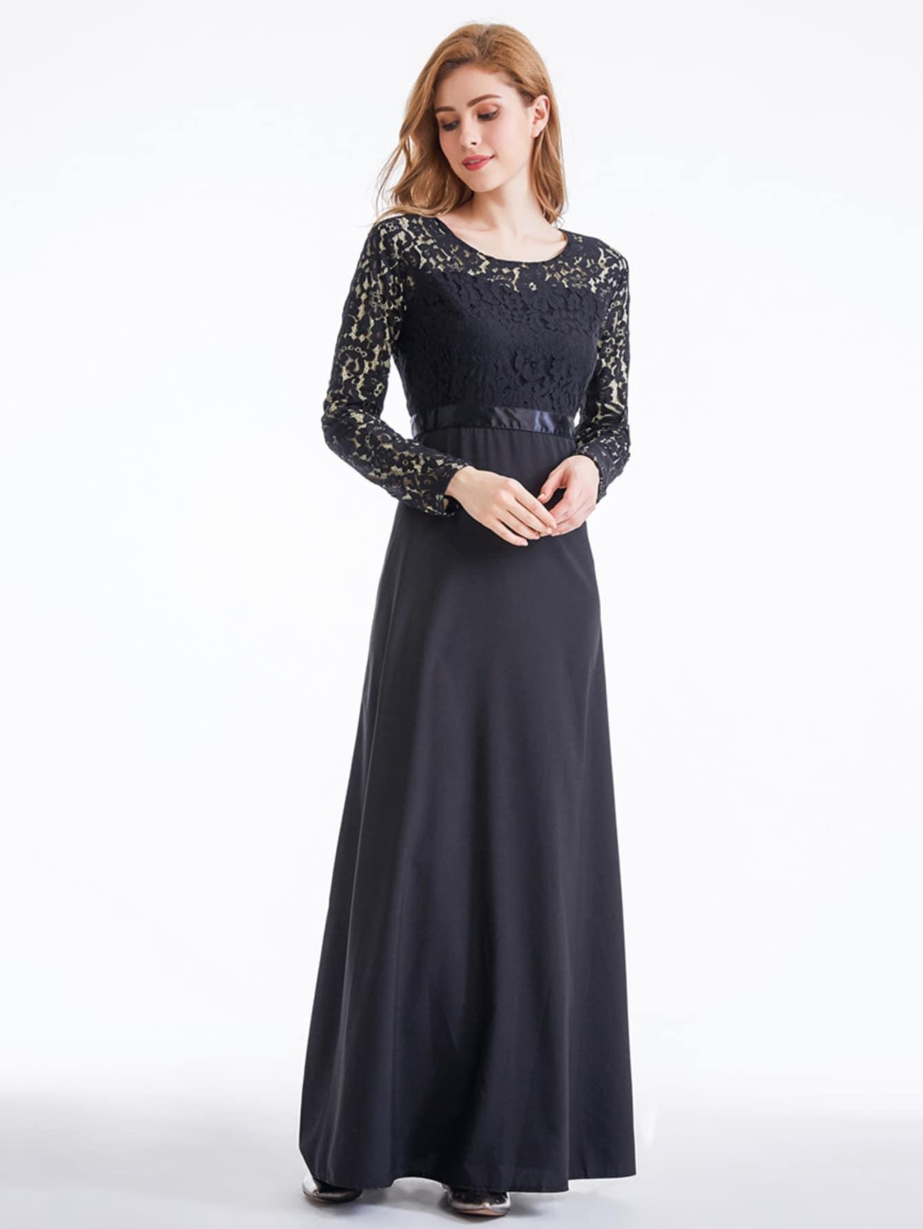 Фото Lace Overlay Combo Kaftan Dress. Купить с доставкой