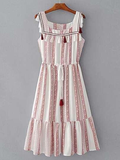 Square Neck Drawstring Waist Dress With Fringe