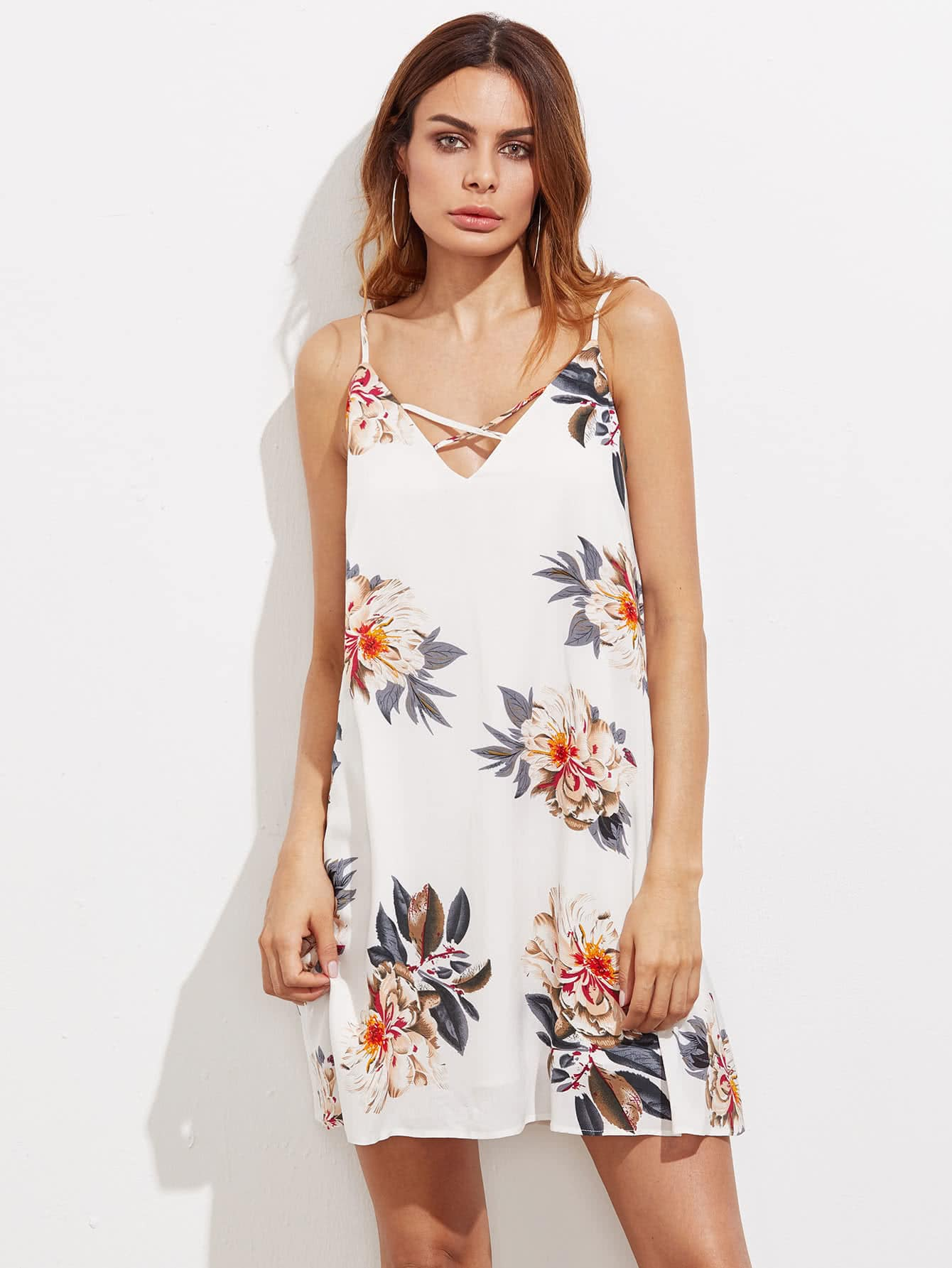 Фото Double V Neck Crisscross Front Swing Cami Dress. Купить с доставкой