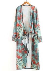 Flower Print Tie Front Longline Kimono