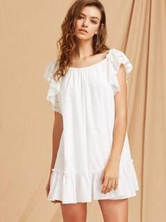 Eyelet Embroidered Flutter Sleeve Bow Back Tiered Hem Dress