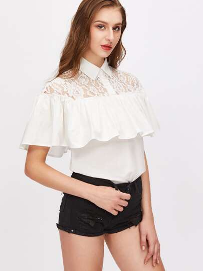 Pointed Collar Lace Shoulder Ruffle Blouse