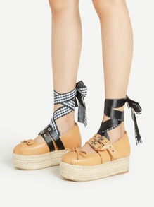 Bow Tie Detail Asymmetry Design Woven Wedges