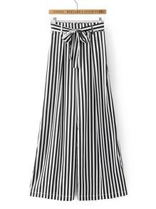 Elastic Waist Contrast Striped Wide Leg Pants