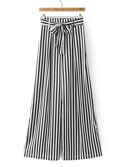 Elastic Waist Contrast Striped Wide Leg Pants