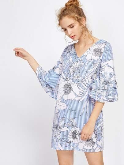 Vertical Striped Florals Tiered Flute Sleeve Dress