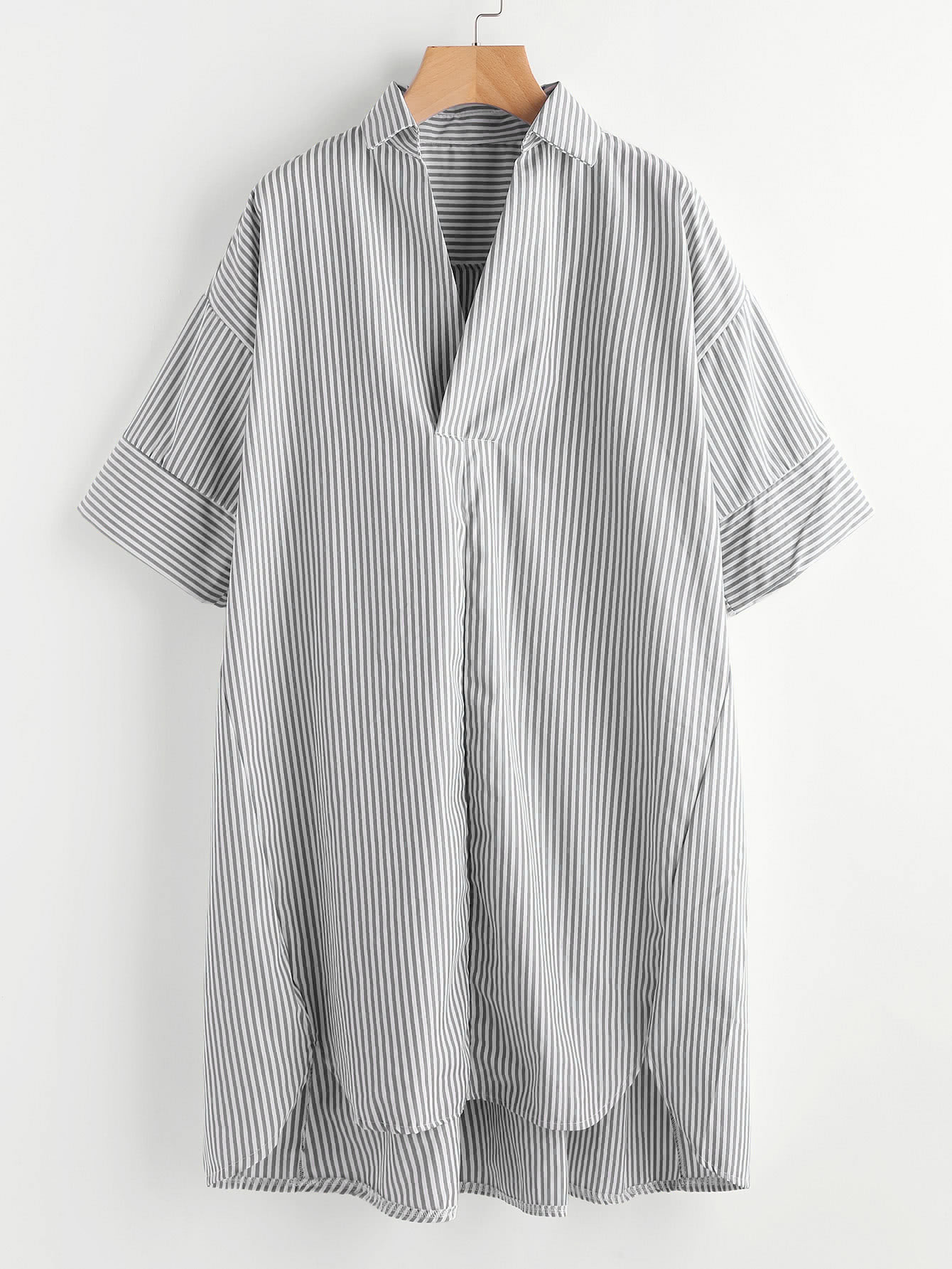 Фото Drop Shoulder Dip Hem Striped Shirt Dress. Купить с доставкой