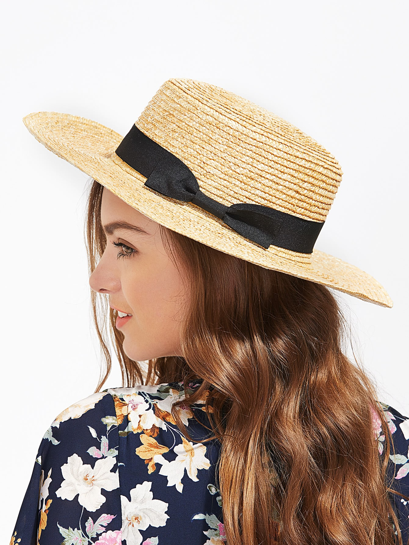 Image of Bow Band Straw Boater Hat