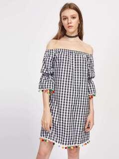 Pom Pom Trim Fluted Sleeve Gingham Bardot Dress