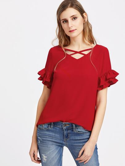 Criss Cross Layered Ruffle Sleeve Top