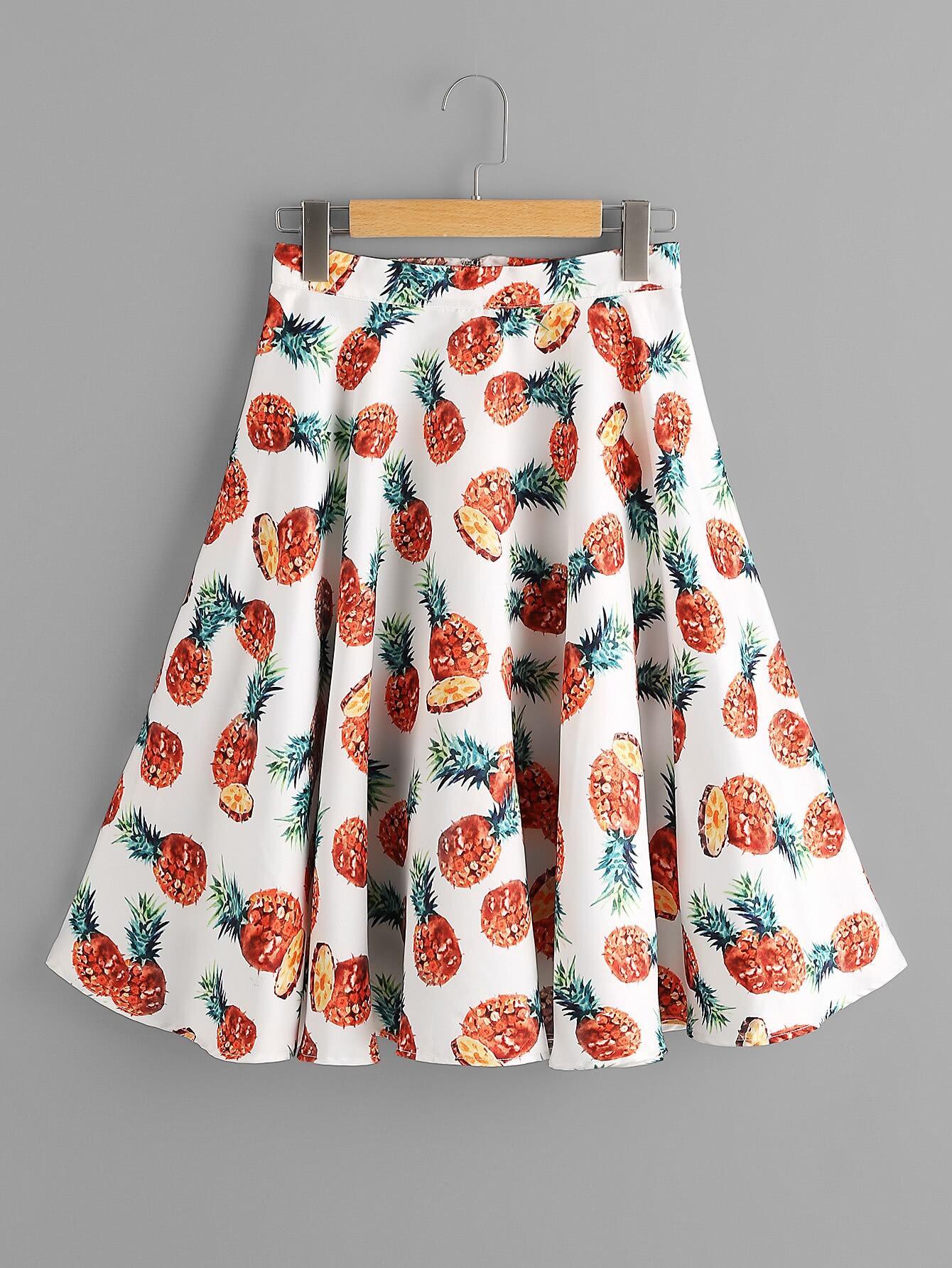 Фото Allover Pineapple Print Circle Skirt. Купить с доставкой