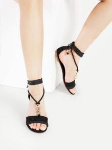 Sandales à fond plat en strass