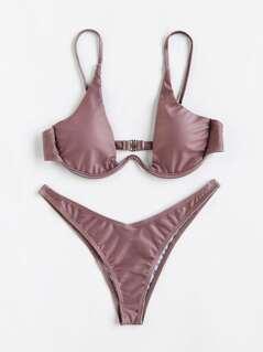 Plunge Neckline High Leg Bikini Set