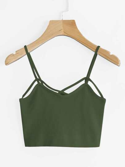 Cross Front Strappy Detail Crop Cami Top