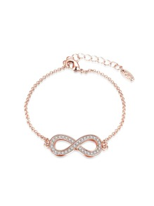 Bracelet de chaîne en strass en forme de 8