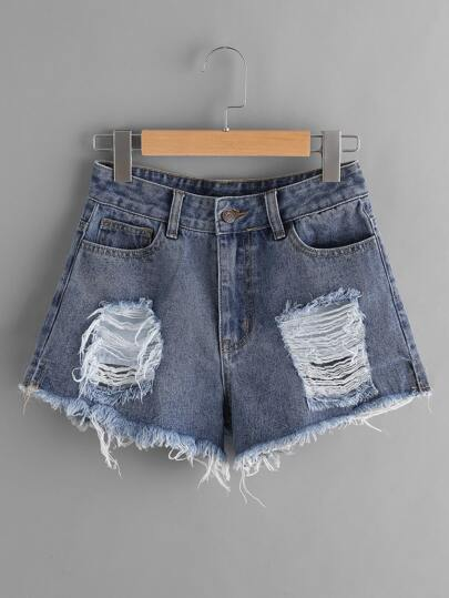 Ripped Frayed Hem Denim Shorts pictures