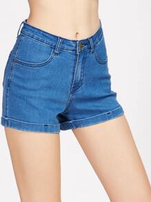 Shorts en denim poignet relevé