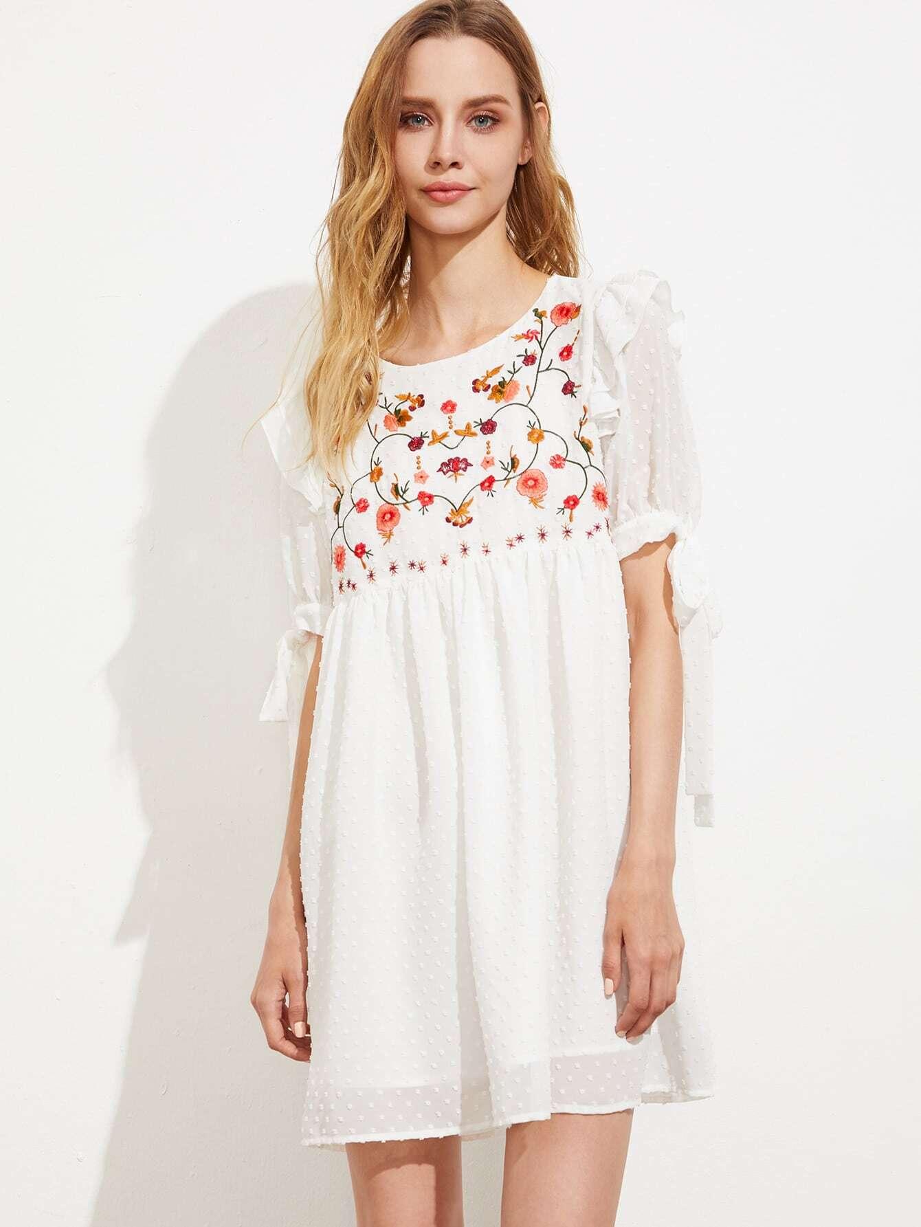 Фото Embroidered Yoke Tie Sleeve Dot Jacquard Babydoll Dress. Купить с доставкой