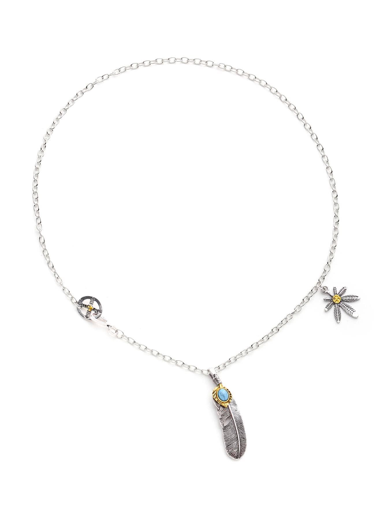 Фото Gemstone Detail Feather Pendant Necklace. Купить с доставкой
