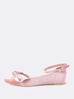 Velvet Bow Ankle Flats MAUVE