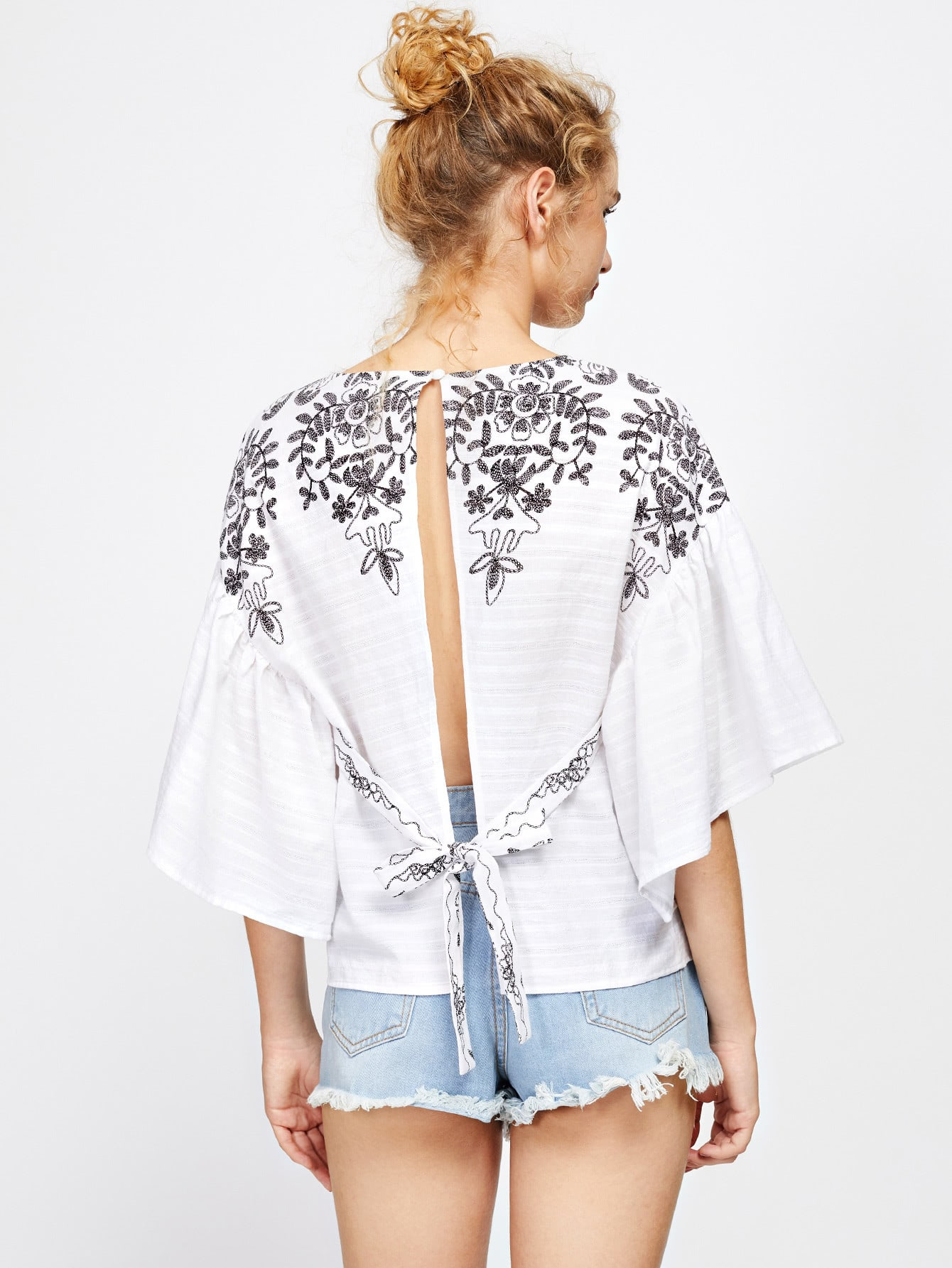 Фото Self Tie Open Back Kimono Sleeve Embroidered Top. Купить с доставкой