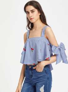 Tie Sleeve Cherry Embroidered Striped Trapeze Top