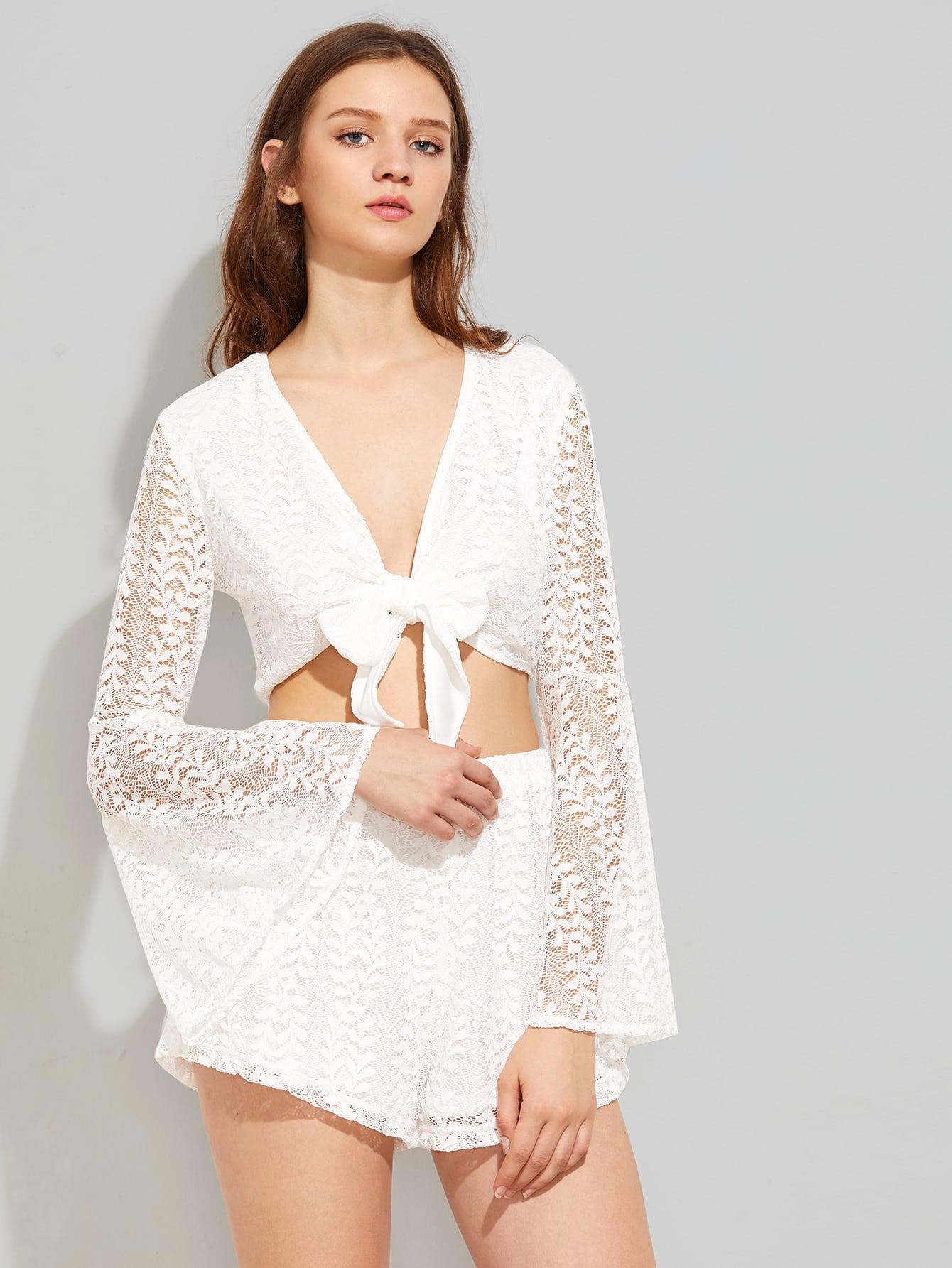 Фото Bow Tie Front Crop Lace Top. Купить с доставкой