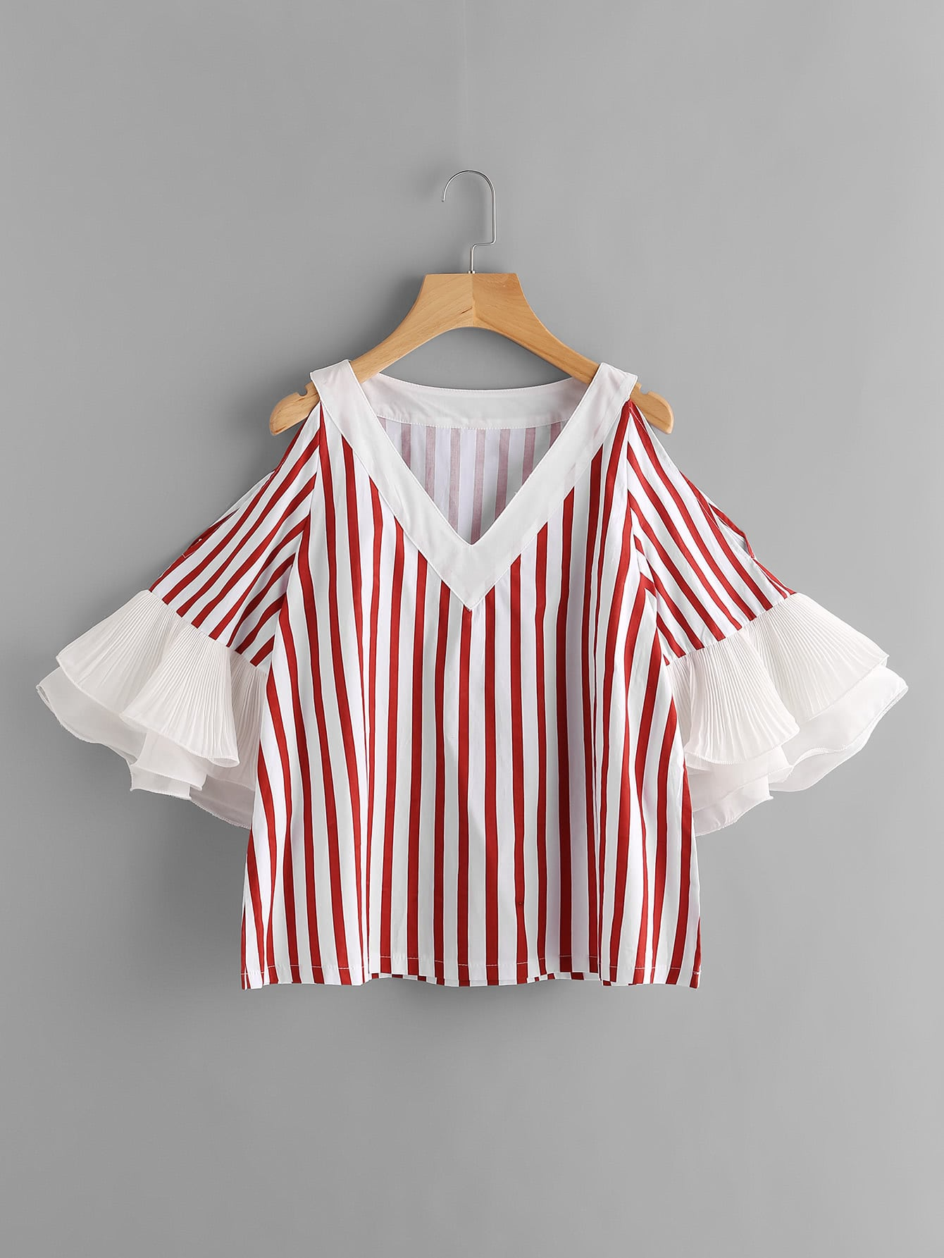 Contrast Tiered Flute Sleeve Vertical Striped Blouse blouse170606008