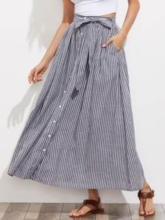 Self Tie Hidden Pocket Detail Button Up Pinstripe Skirt