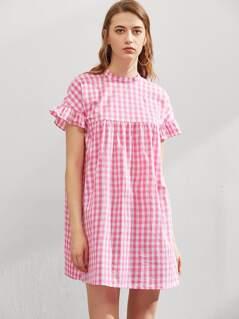 Checkered Ruffle Sleeve Keyhole Tie Back Smock Dress