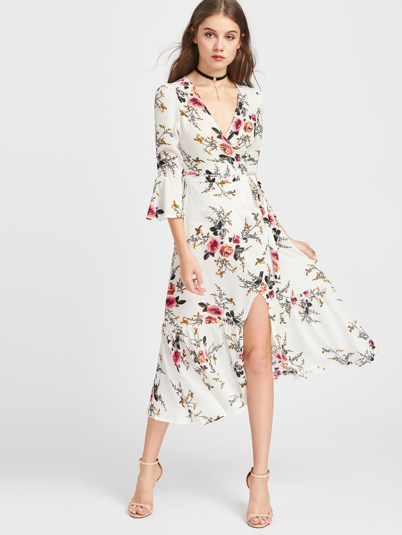 Plunge Neck Floral Print Bell Sleeve Slit Dress