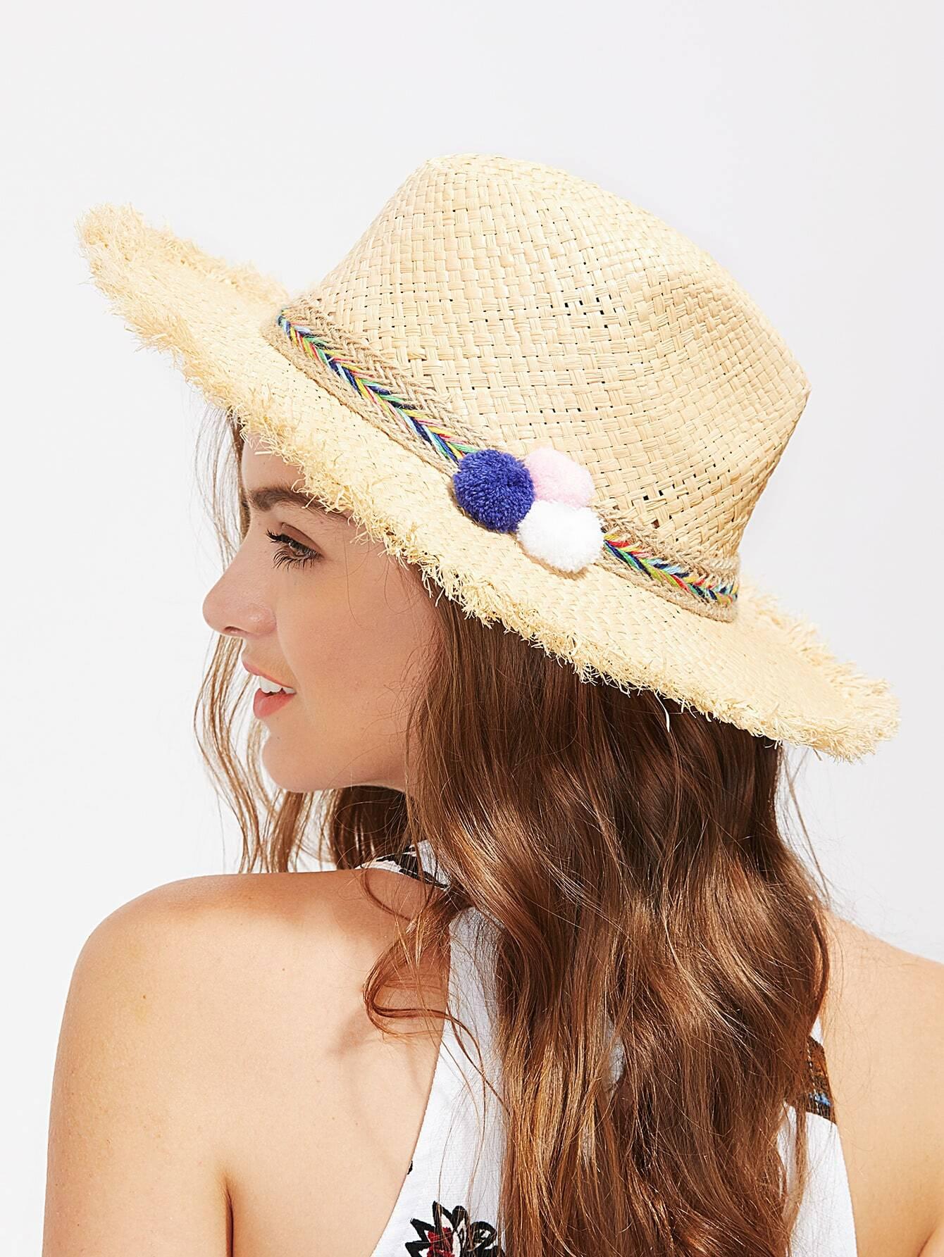 Pom Pom Detail Straw Fedora Hat