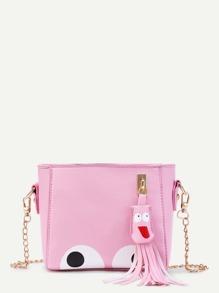 Eye Print PU Chain Bag With Tassel