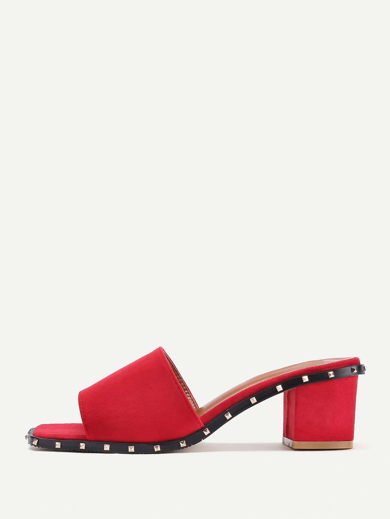 Фото Rockstud Detail Block Heeled Slippers. Купить с доставкой