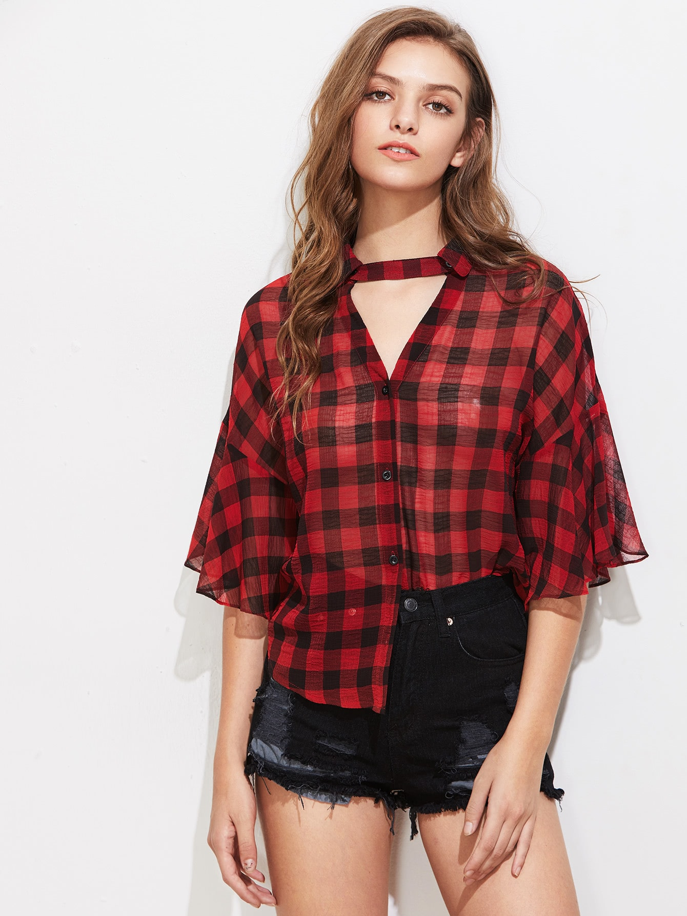 Choker Neck Fluted Sleeve Checkered Blouse blouse170609706