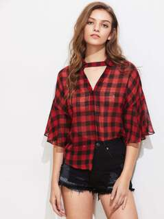 Choker Neck Fluted Sleeve Checkered Blouse