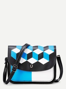 Geometric Print Flap PU Shoulder Bag