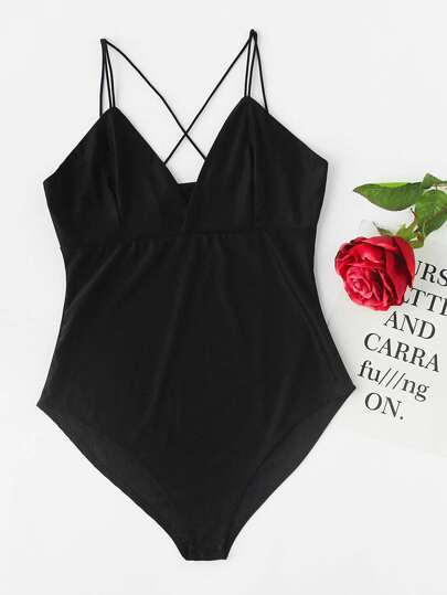 Criss Cross Surplice Cami Bodysuit