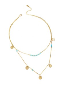 Beaded And Coin Fringe Pendant Layered Necklace