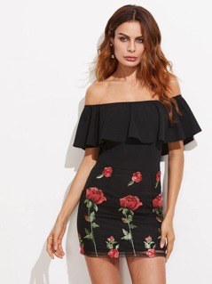 Embroidered Mesh Bottom Flounce Bardot Dress