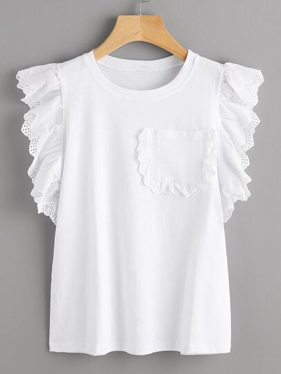Lace Trim Chest Pocket Frill Top