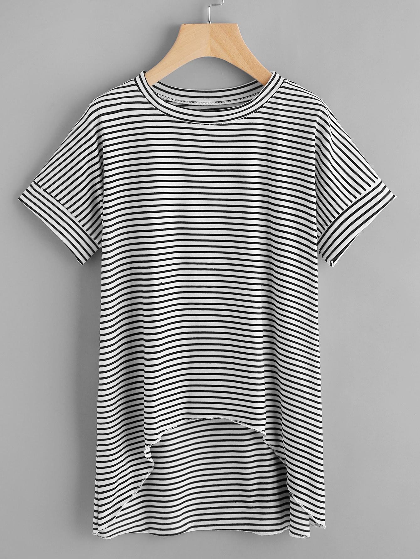 Купить Модная асимметричная футболка в полоску, null, SheIn