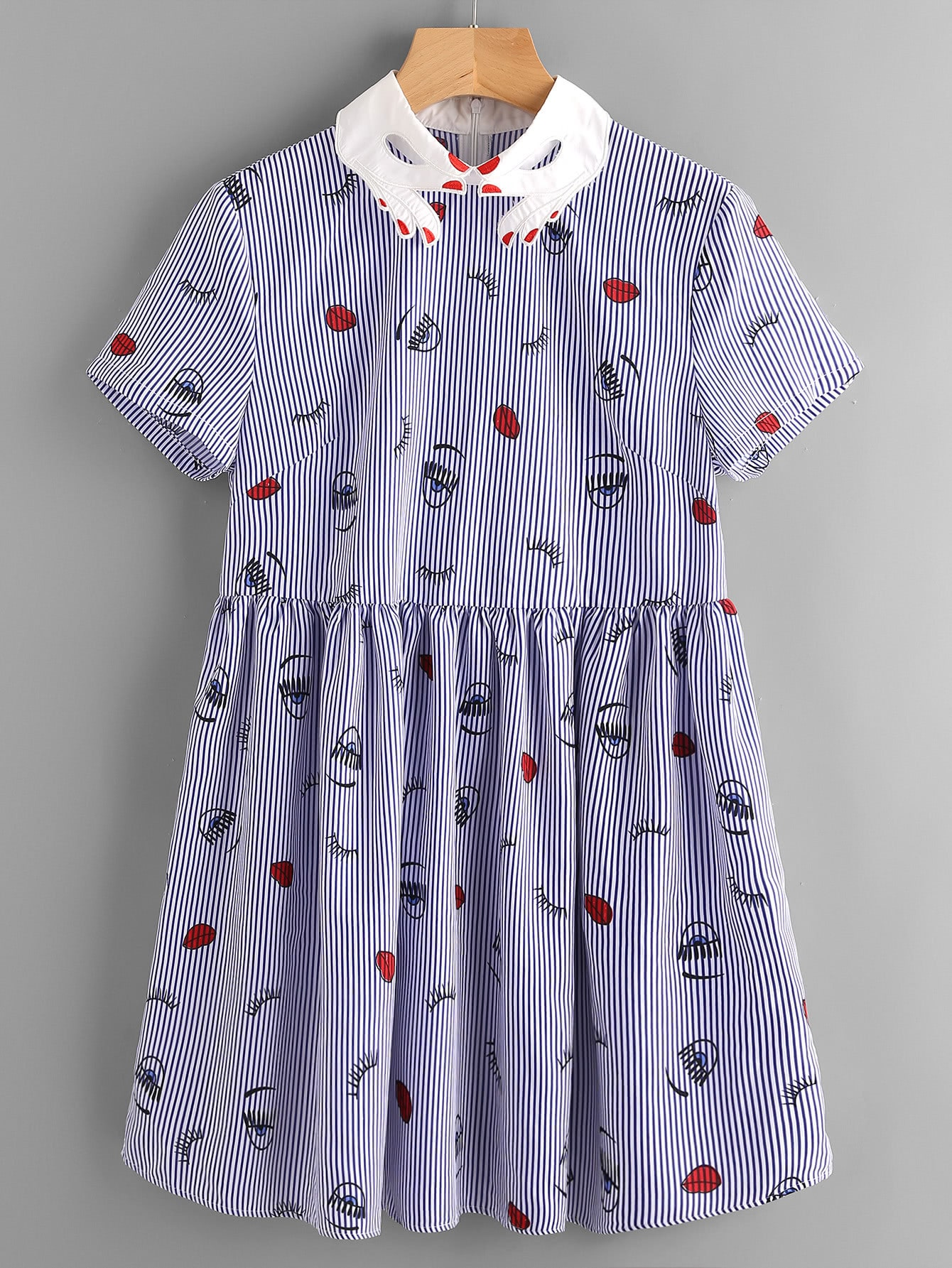 Фото Contrast Hand Pattern Collar Facing Print Smock Dress. Купить с доставкой