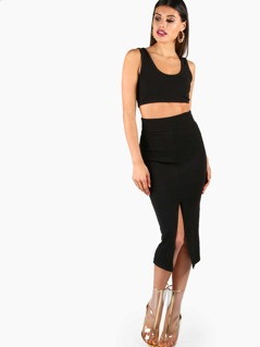 Rib Knit Bra Top And Skirt Co-Ord